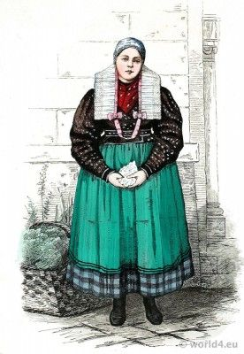 Traditional Peasant girl costume from Silesia in 1876