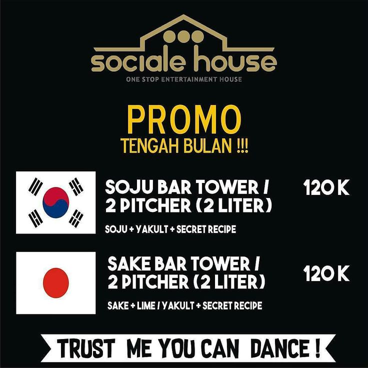 Soju and Sake on Promo at @sociale.house  Nb. Save this photo and show it to our staff to get this promo.  Everyday!  Trust me you can dance!