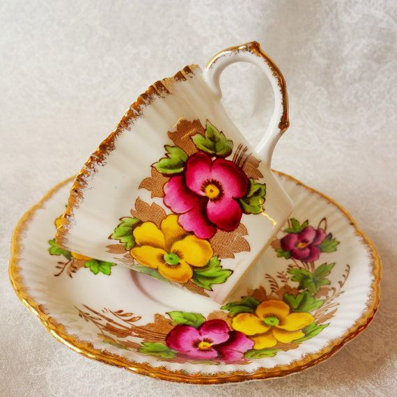 SALISBURY Vintage Bone China Vintage Tea Cup and Saucer, Pansy, Tea party…