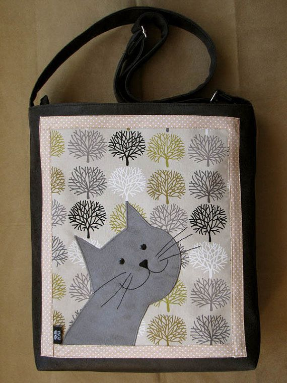 Lusia the Cat Bag with Zipper  Bag with Adjustable Strap by ifONA