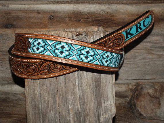 Leather Inlay Beaded Belts by BearRiverLeather on Etsy