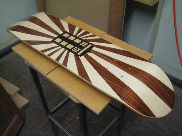 Students at Maitland Grossmann High School have made Marquetry layers using NAV veneers for the skateboard decks.