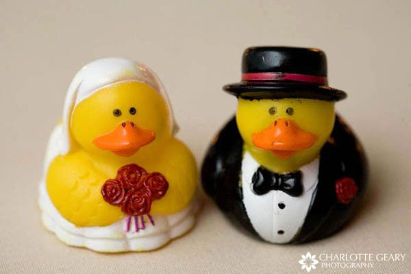 Bride and groom rubber duckies given to the children at the wedding