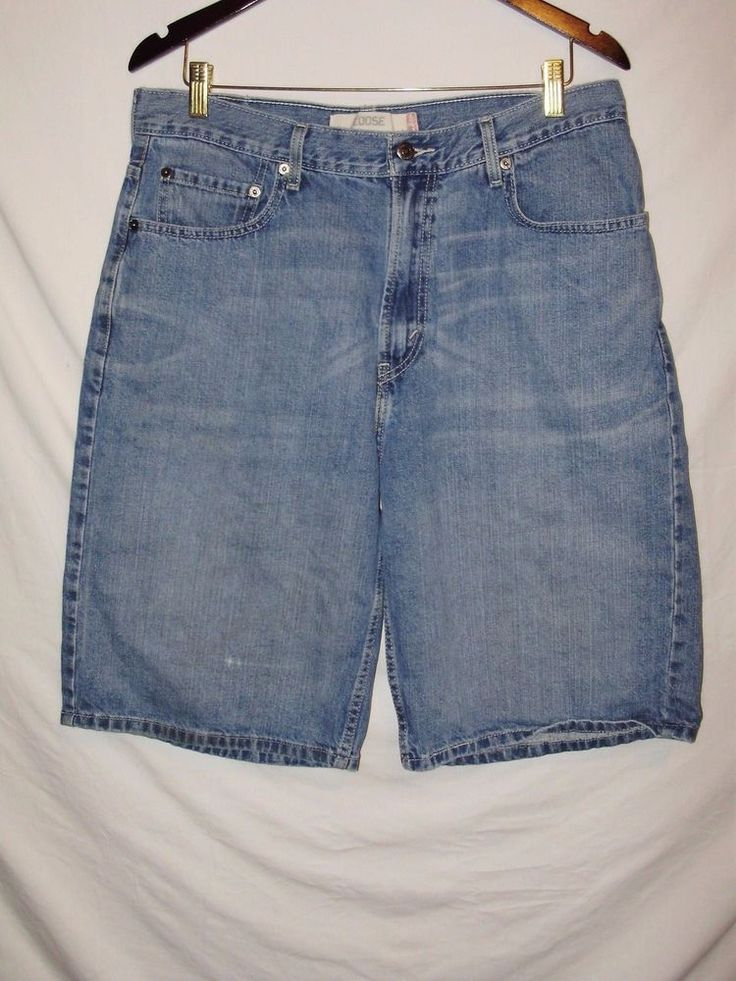 Mens LEVI Strauss Jean Shorts Size 34 Waist 569 Loose Fit A1 #Levis #denimshorts