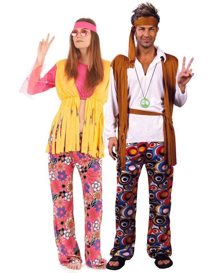Disfraz de pareja de hippies: Disfraz para el hombre:Este disfraz de hippie para hombre se compone de un pañuelo, un pantalón con cinturón y una camisa con chaleco (accesorios no incluidos).Disfraz para la...