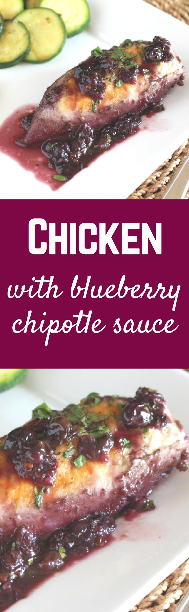 This chicken has a unique blueberry chipotle sauce that is the perfect blend of spicy and sweet. Get the recipe on http://RachelCooks.com!