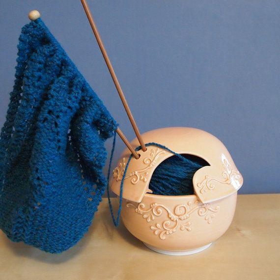 ceramic yarn bowl with lid in Sherbet