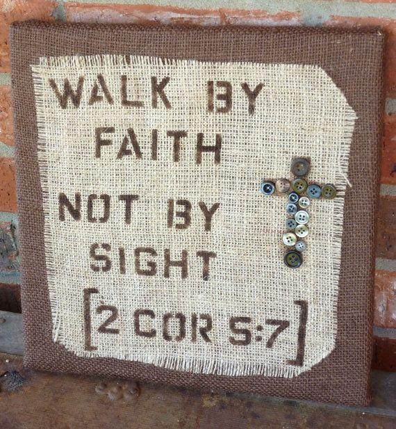 Walk by Faith burlap wall hanging