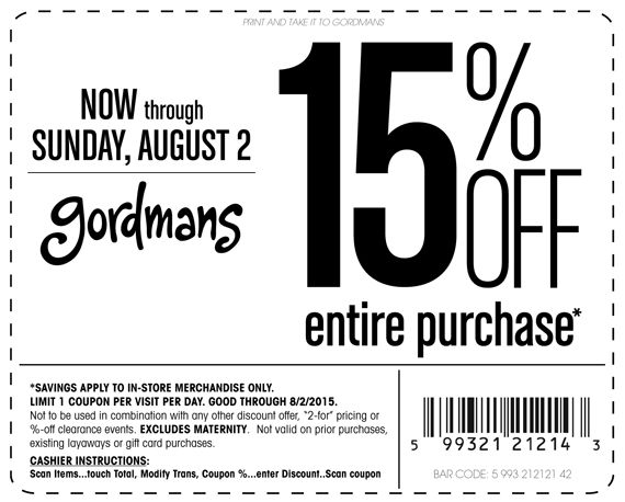 Pinned August 1st: 15% off everything at #Gordmans #coupon via The #Coupons App