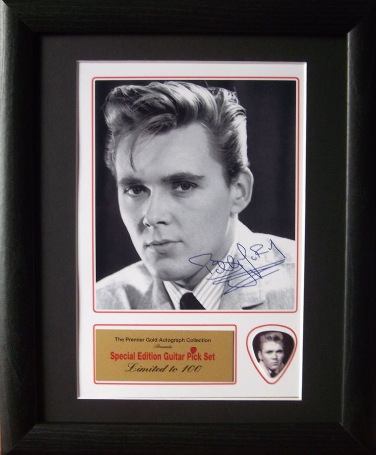 Billy Fury Preprinted Autograph & Guitar Pick Display Mounted & Framed #2