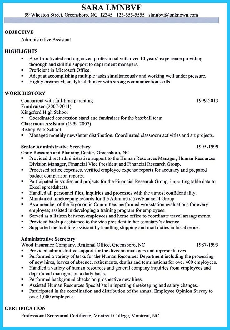 secretary job duties resume