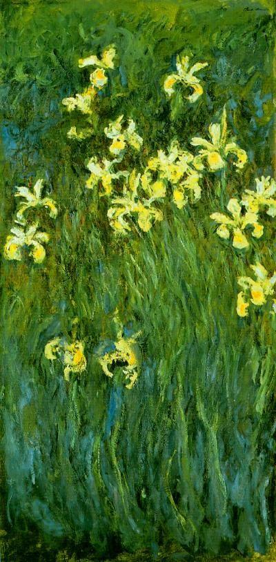 peinture française : iris jaune, Claude Monet, 1914, vert, fleurs, impressionnisme
