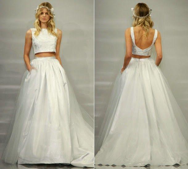 Crop Top - Vestidos de Noiva - Tendência de Moda #NoivinhasdeLuxo #Vestidodenoiva #noiva #croptop #modanoiva #moda #weddingdress