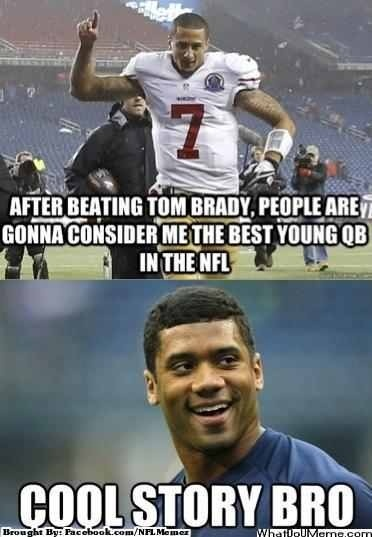 Seattle Seahawks Russell Wilson... TRUMPS THAT KAEPERNICK kid ten fold and then some!  GO HAWKS!