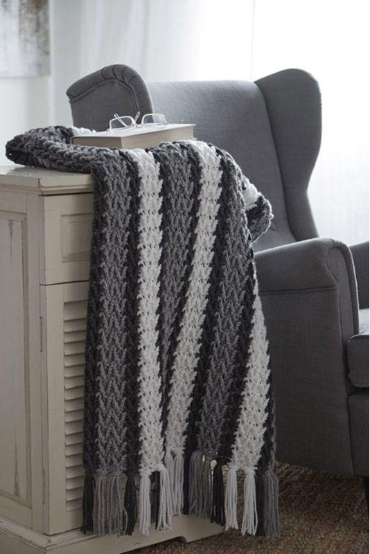 Caron United Grey Arrowhead Striped Afghan  Crochet