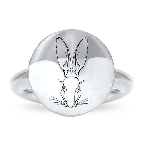 A modern interpretation of an ancient votive. This unisex series is solid, tactile, and engraved with the Hargreaves hare motif. Fairmined Silver signet ring #fairmined #fairminedsilver #fwstockholm #aw17