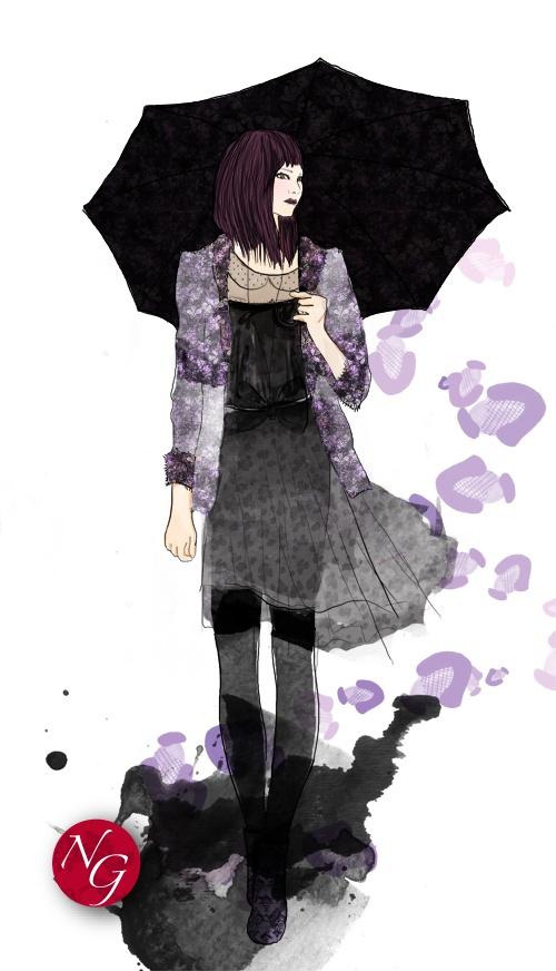 http://www.nefergarden.com/2013/02/05/under-my-umbrella/  #fashion #illustration #romantisme #umbrella #leopard