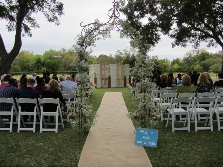 42 best outdoor wedding decor images on pinterest receptions this combination of an arbor and panel of rustic doors is another unique wedding decor idea junglespirit Gallery