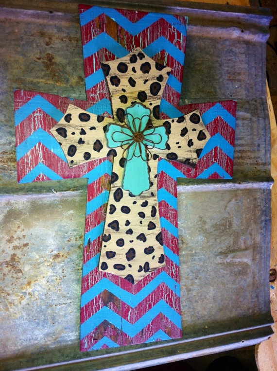 """Hand crafted cross - turquoise wire floral / leopard print / dark turquoise & red chevron crackle - 15"""" x 23"""" on Etsy, $45.00"""