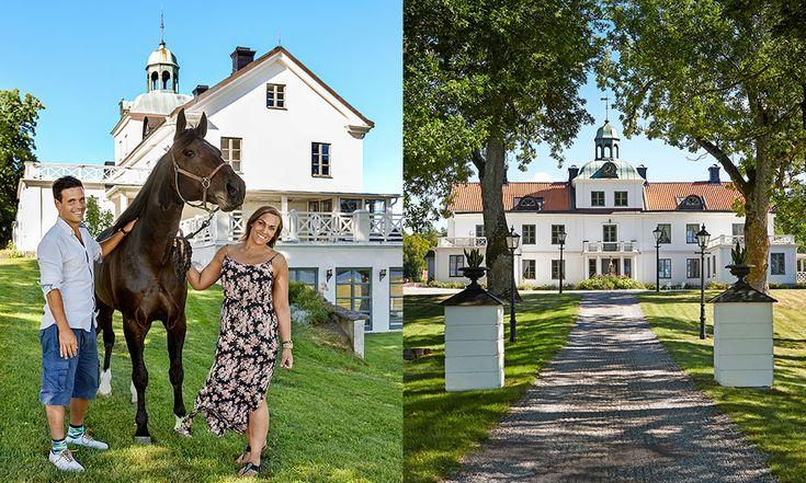 Douglas Larsson Engholm har såväl hästar som släkten inpå slottsknuten. Här med kusinen Annsofie Norman. Till höger: Slottsbyggnaden på Erikssund. Bottenvåningen byggdes i mitten av 1500-talet, ovandel och klocktorn kom till drygt hundra år senare.