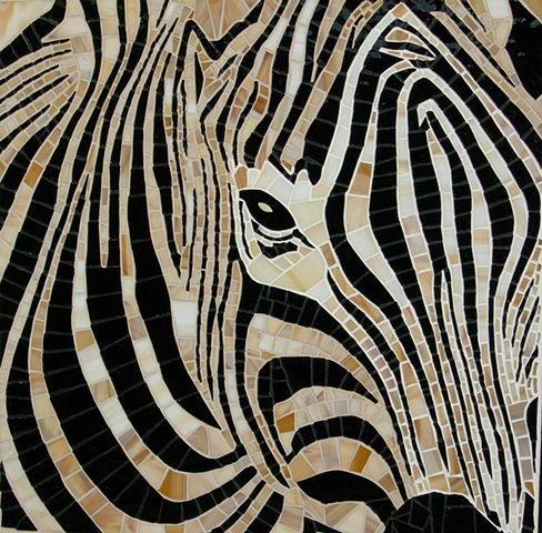 Maplestone Gallery ~ Contemporary Mosaic Art  ~ 'Ebony & Ivory' by Cristina Ciloci