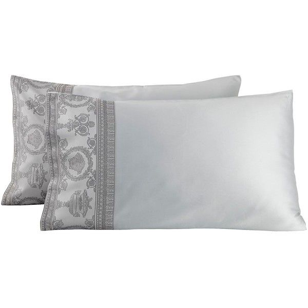 Versace Home I Heart Baroque Jacquard Pillowcase Set (€335) ❤ liked on Polyvore featuring home, bed & bath, bedding, bed sheets, grey, jacquard bedding, heart bedding, grey bedding, gray bedding and versace bedding