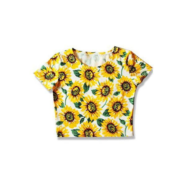 Sunflower Crop Top ($22) ❤ liked on Polyvore featuring tops, shirts, crop tops, tees, shirt tops, sunflower crop top, sunflower top, sunflower shirt and cropped tops