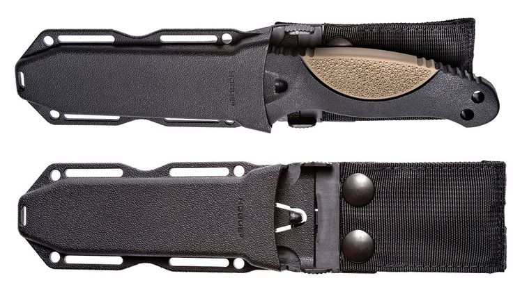 The EX-F02 makes a handsome package sheathed. The ambidextrous automatic retention sheath locks with a push of a trigger lever. Pull-the-Dot® snap fasteners help ensure secure closure.