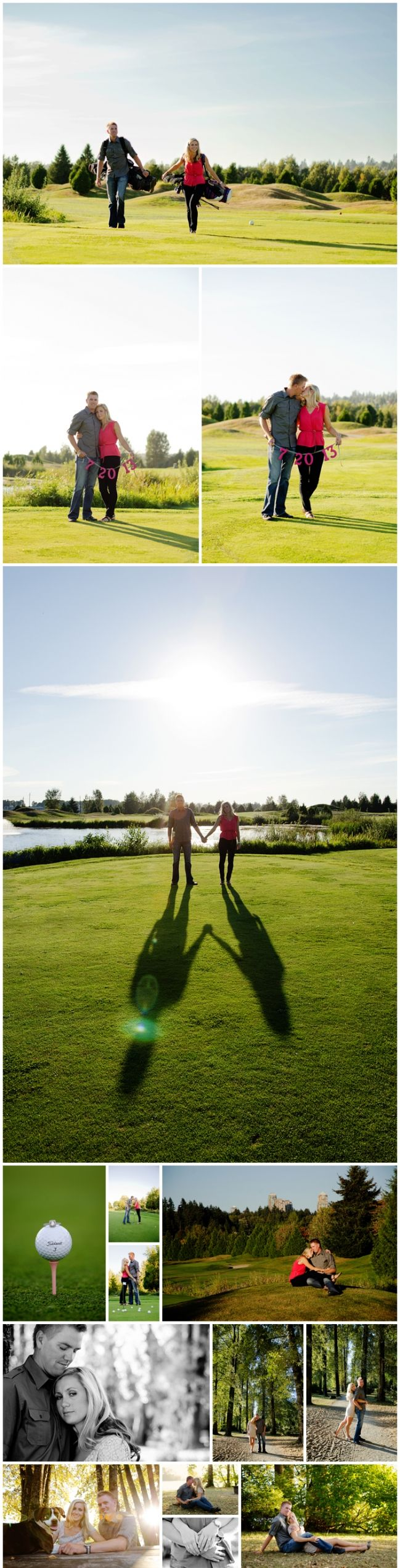 Golf-shadows-dog-engagement-love #golfengagementsession #engagementphotography  #weddingphotography