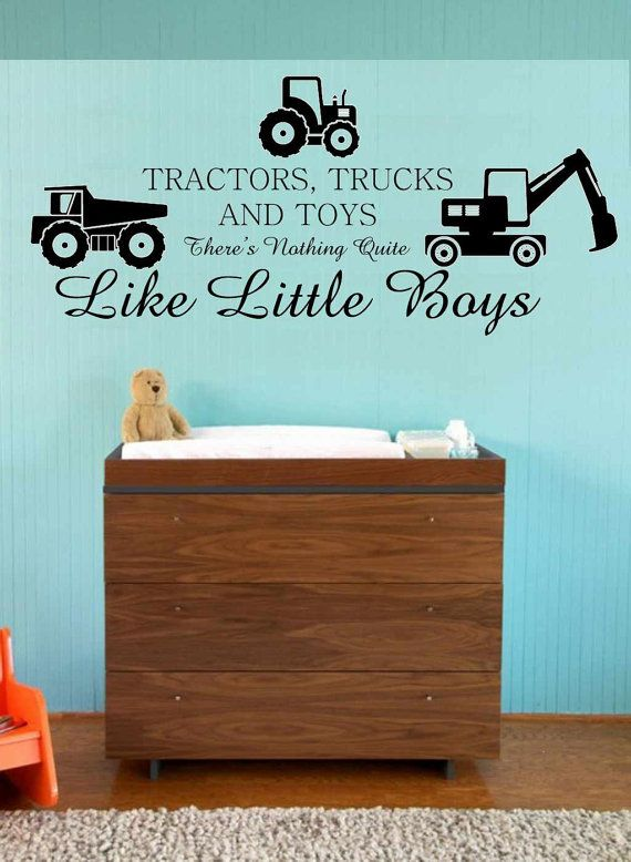Would be cute in Gunner's John Deere room in the new house! Tractors Trucks and Toys Nothing Quite Like by greatwallsoffire, $38.95