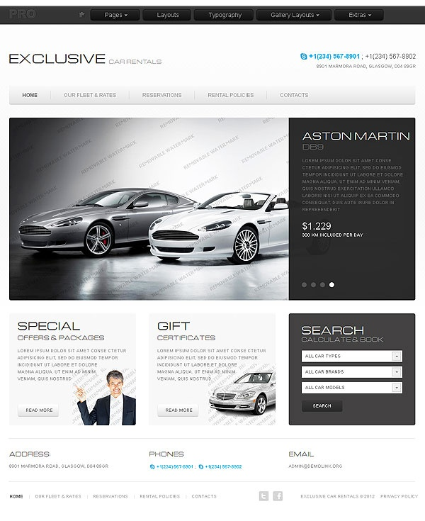 Rent Websites: Car Rentals Web Site Template