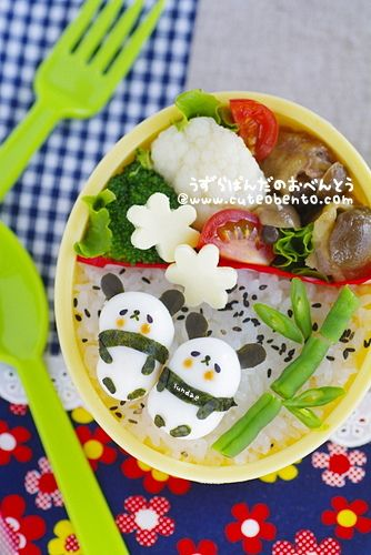 Quail egg pandas!! bento panda