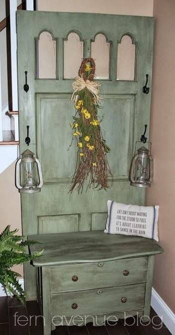 reuse and recycle interior and exterior wood door for modern furniture in vintage style