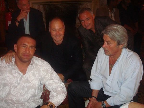 Pictured left to right: Jerome Le Banner, Olivier Muller, Stephane Cabrera and Alain Delon (Famous French actor and businessman). Photo archive