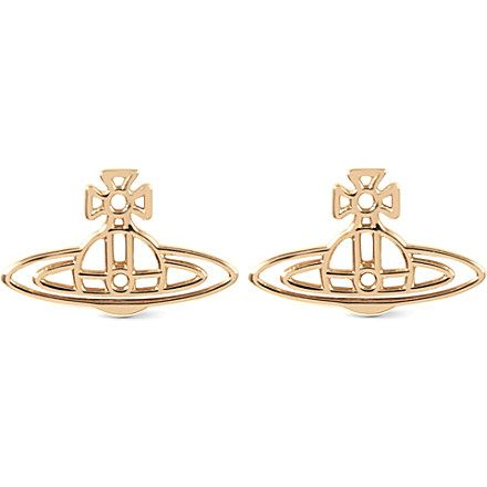 VIVIENNE WESTWOOD JEWELLERY Thin lines flat orb stud earrings (Gold