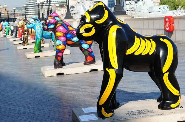 Wow! Gorillas exhibition and auction. An army of multi-coloured gorillas lining the Thames walkway. The charity auction to take place in Bristol on the 29 September to raise funds for Bristol Zoo's gorilla conservation projects and the Bristol Children's Hospital Charity