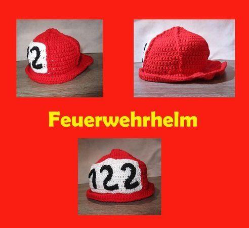 Häkelanleitung Feuerwehrhelm in Rot, Größe für 1-2 Jahre / 2-3 Jahre