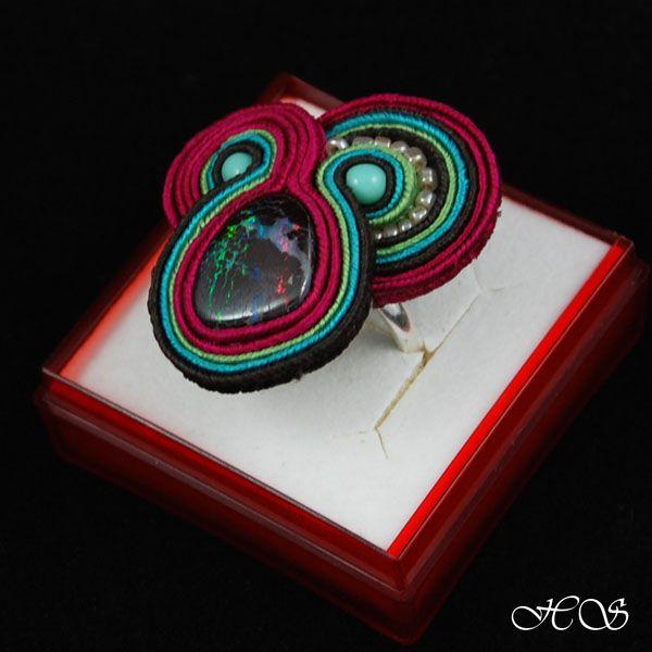 sutasz z opalem - Pierścionki - Biżuteria w ArsNeo