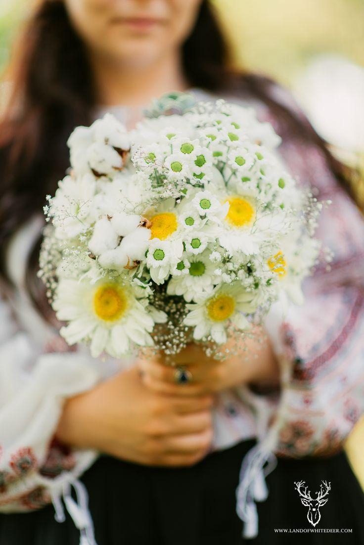 Daisies, cotton, gypsophila and echeveria bouquet