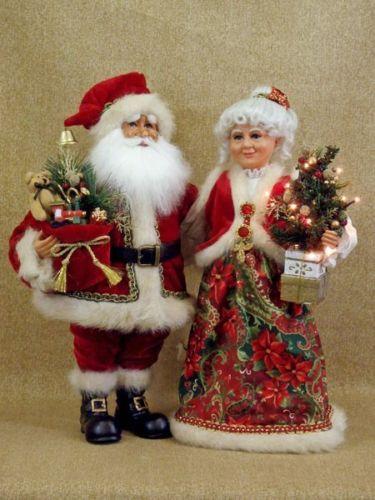 Karen Didion Originals Crakewood Specialty Santa Light Mr Mrs Claus