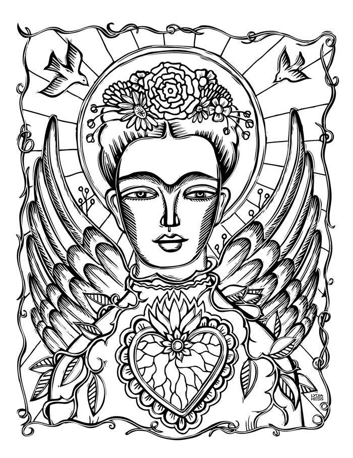 Frida Kahlo - Angel | Mexican folk art, Art, Painting patterns