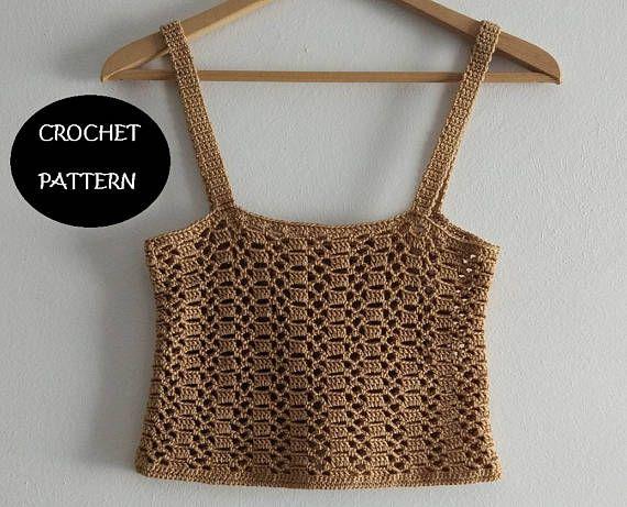 Patrón PDF crop top de verano a crochet en inglés y español.