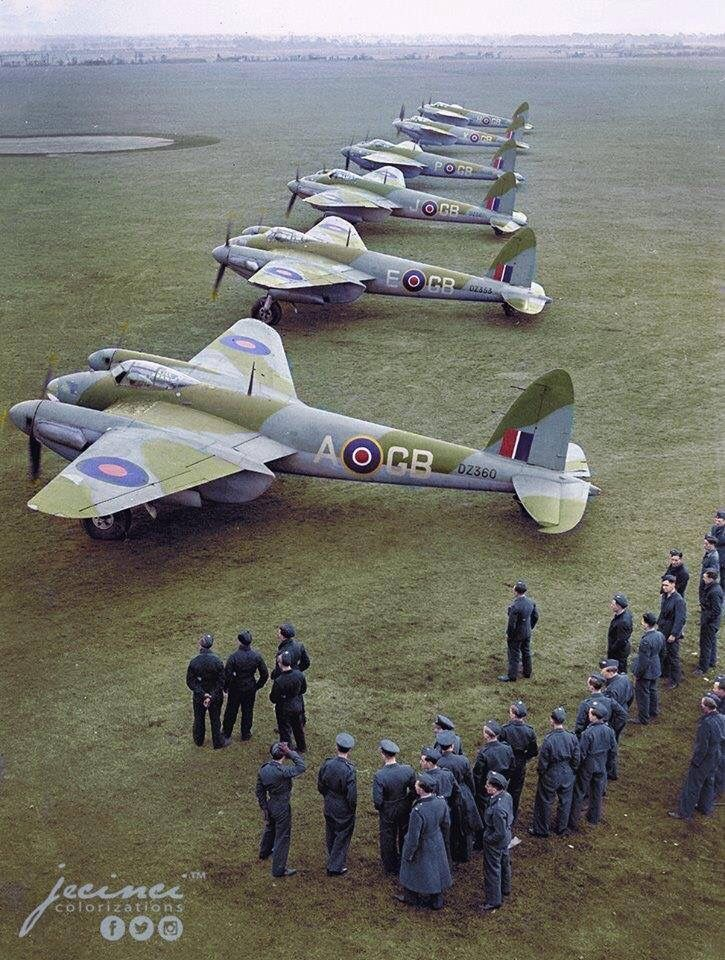 """beautifulwarbirds: """" A great colorized photo of some Mosquitos. """""""
