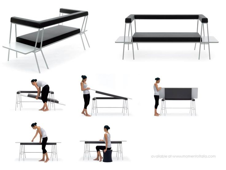 A love seat that turns into a desk and arm chair that converts into a bed. The Italian furniture store Momento Italia has incredible selection of multifunctional furniture. Here's a few of the highlights.