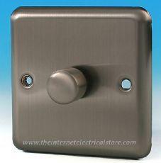 Varilight V-Pro 1 Gang 2 Way 400W Push on/off LED Dimmer Light Switch Matt Chrome JSP401