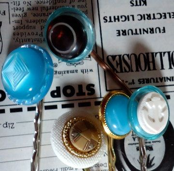 Artsy Hand Made Recycled Vintage Button Hair by thineintime, $12.50
