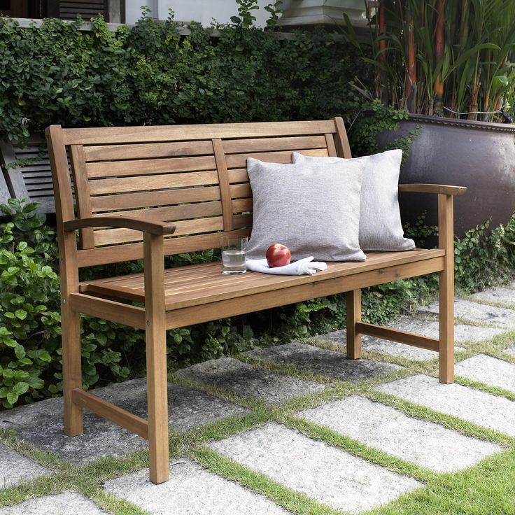 Have To Have It Coral Coast 4 Ft Horizontal Slat Back Outdoor Wood Garden Bench
