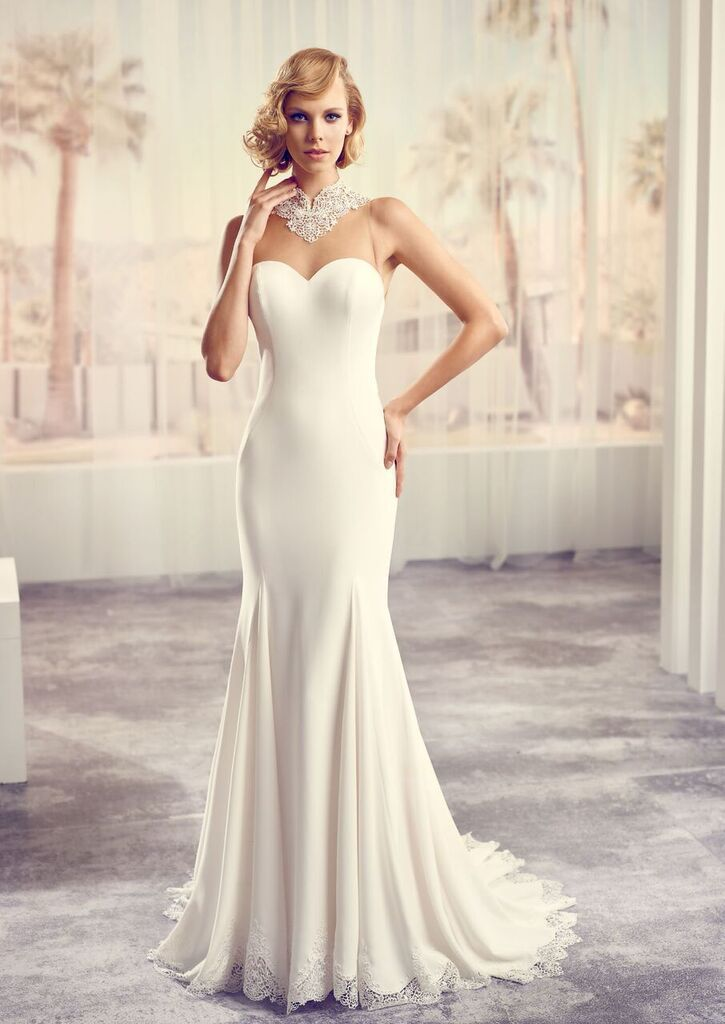 Modeca Samira design from LePapillion collection. Elegant, simple and classic satin sweetheart strapless design with sheer chest detail.