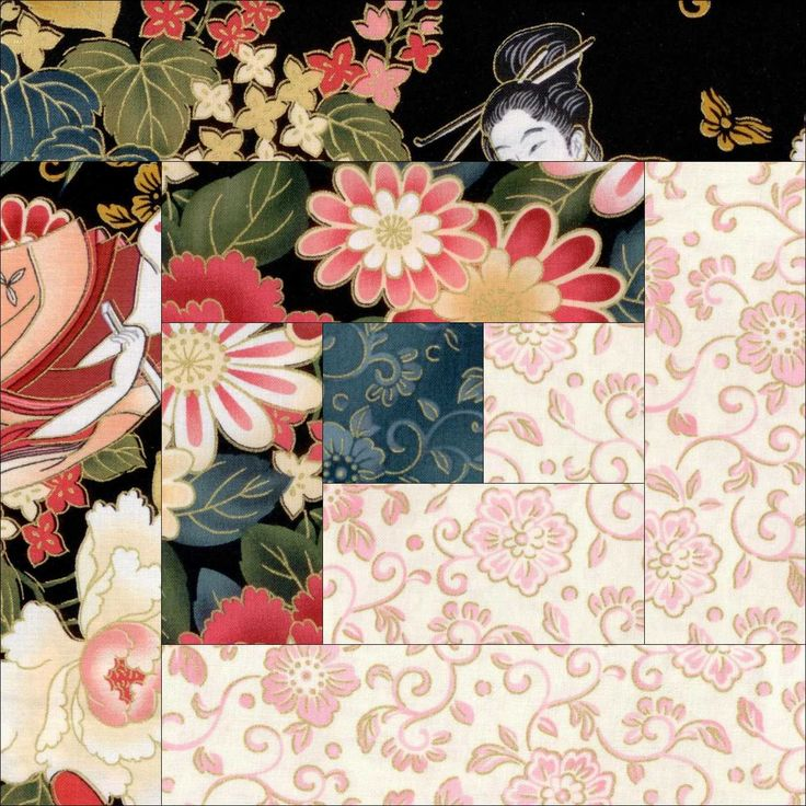 Geisha Garden Floral Quilt Kit Pre-Cut Blocks
