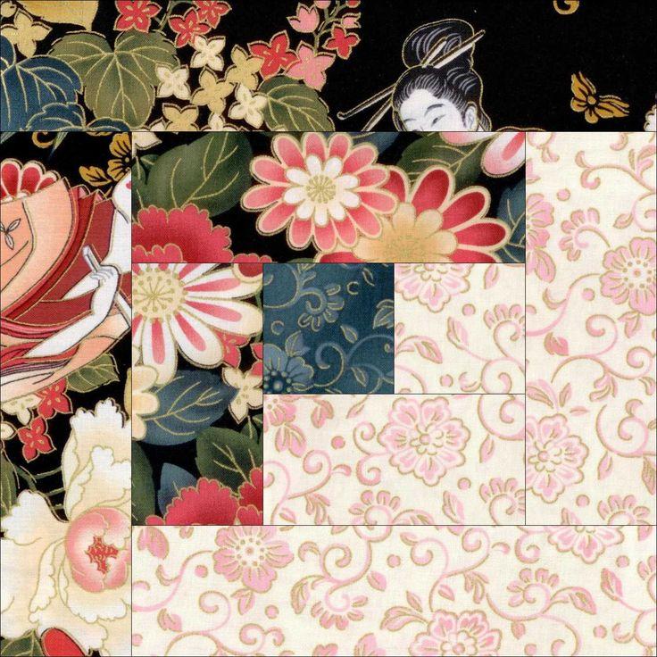 Geisha Garden Floral Quilt Kit Pre-Cut Blocks